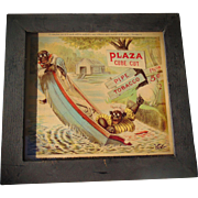 SCARCE 1901 Plaza Cube Cut Pipe Tobacco African-American Adverting Card in Original Frame