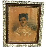 Rare 1899 charcoal portrait of an African-American lady done by George Harris of Saint Augustine, Florida.