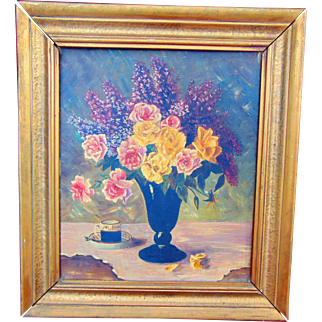 A Cup of Coffee and a Boutique of Roses  Depression era Oil on Canvas signed K.Glaser 1932