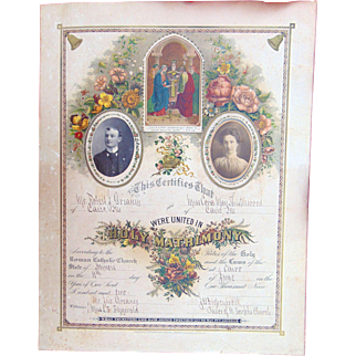 1902  Ornate Wedding  Certificate of  Robert Greaney and Miss Cora May Thistlewood  from Cario, Illinois