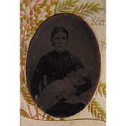 Unusaul Tintype of Breast Feeding Mother