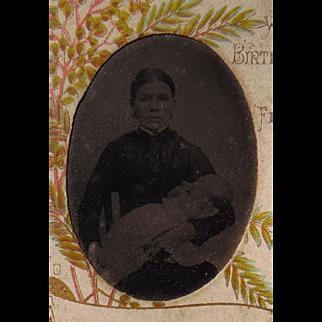 Unusaul Tintype of Breast Feeding Mother