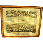 1889 Illuminated Map of Berkeley Springs WV in original frame that hung in Hotel
