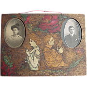 Folk Art Carved & Painted Frame of a Couples First Quarrel
