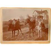 Fiddletown, California Cabinet Photo of 9 kids and their Horses