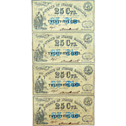 Sheet of North Carolina Confederate Civil War 25 Cent Obsolete Notes R-8 Variety