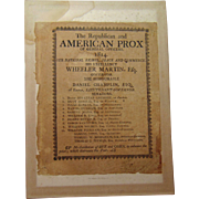 1814 Street Leaflet:  NO distillation Rye and Corn to Distress the Poor Providence,Rhode Island Wheeler Martin