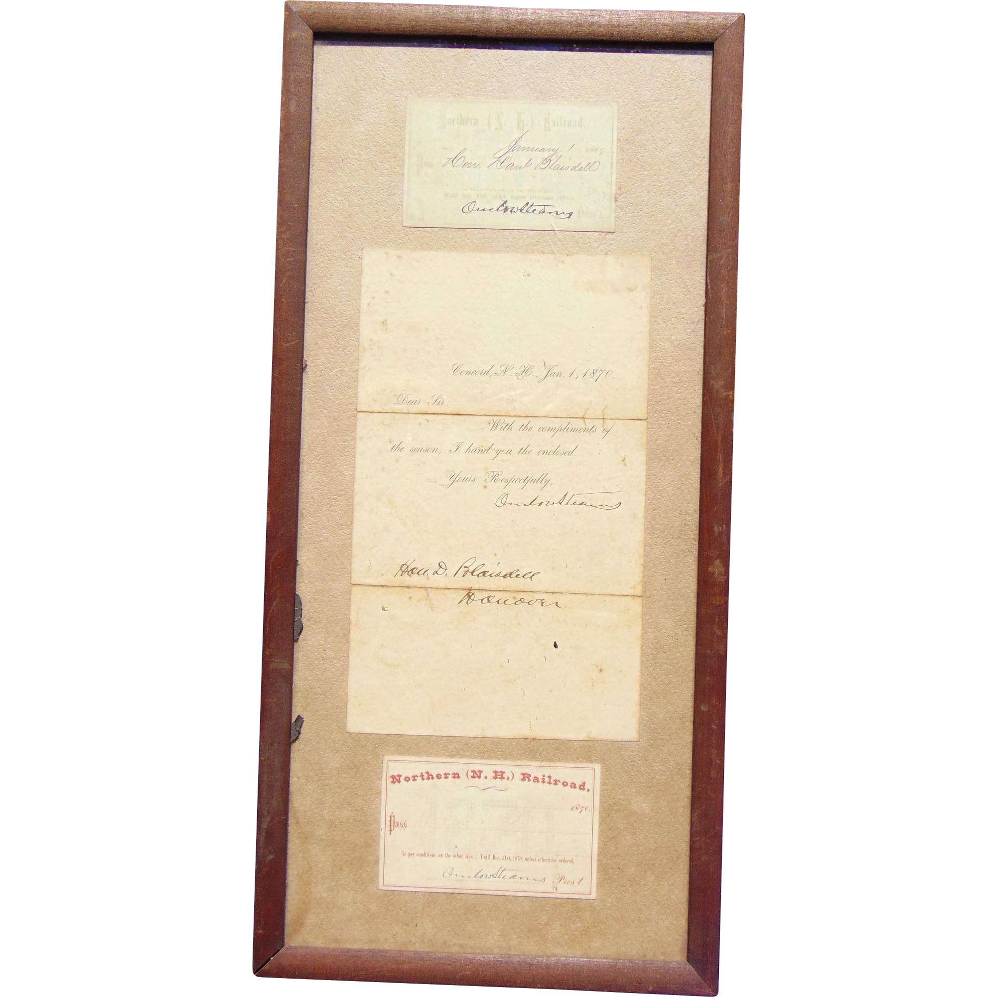 1869 & 1870 Northern New Hampshire Railroad Passes for Daniel Blasidell