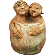 Unique Southern c. 1930's Garden Pottery of Embracing Couple
