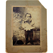 Teach Your Child Early to Smoke....Antique Cabinet photo of Chain Smoking 4 year old.