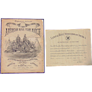 1875 American Rifle Team March with NRA Rifle Certificant MUST SEE