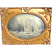 Exceedingly Rare Photograph of the 1878 Keystone Oil Company Driller in Ornate Victorian Frame