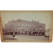 1890's Claremont,New Hampshire Cabinet Photograph of Union Block Store Fronts