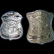 Two Unique Obsolete  Detroit Police Department Badges