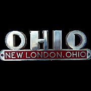 1930's Art Deco New London,Ohio License Plate Frame Display