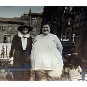 Circus Fat Lady taking Causal Stroll Snapshot photograph 1920's