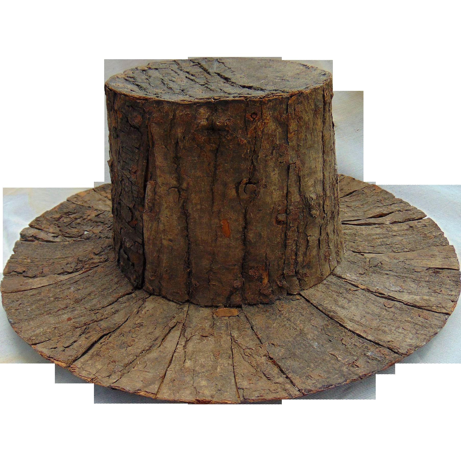 Incredible 19th century hard-carved Folk Art Adirondack Wooden  Hat