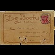 Scarce 1910 Lusitania Cancelled Postal Cover Log Book