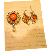 14kt. Gold Victorian Earring & Brooch Set Coral Turquoise Pearls