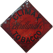 c.1910 Climax Baseball Tobacco Tin Store Sign