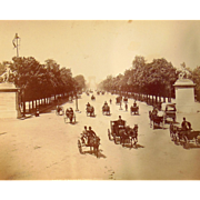 1870's Paris,France albumen photograph showing l'avenue des champs elysees