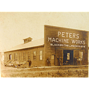 Peters Machine Works and Blacksmith & Machinist Shop Missouri Albumen Photograph
