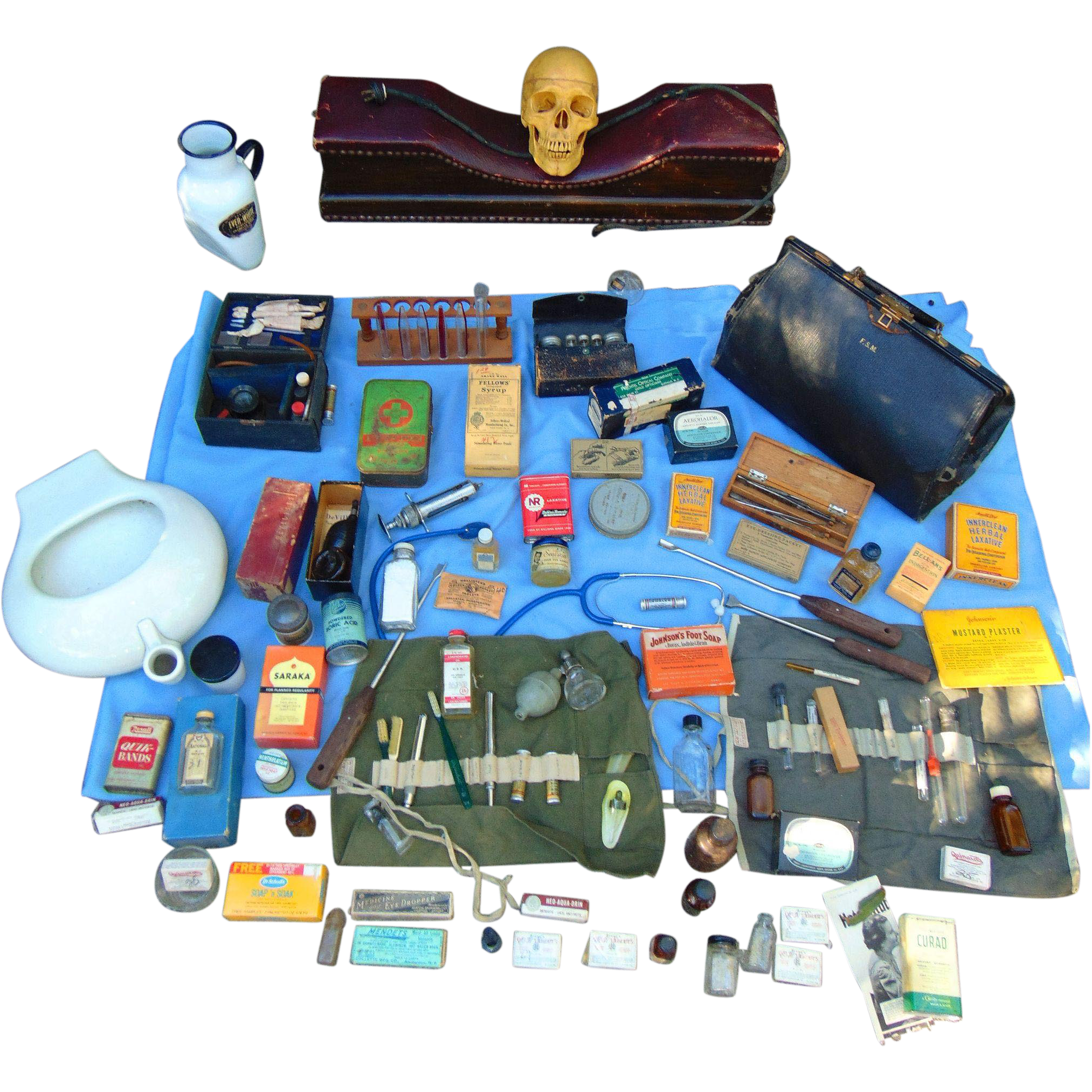 Country Doctors Medical Bag Surgical Tools,Instruments, Quaky Cures and Inventions.