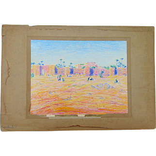 Superb 19th Century Impressionist Painting of Middle Eastern  Villa