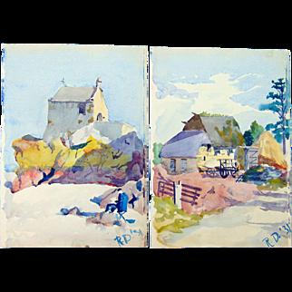 Fine Watercolors of Villa-Pecan Brittany France 1931
