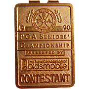 Handsome 1990 Oldsmobile PGA Seniors Golf Championship Money Clip 14-20 Gold Filled
