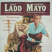 1952 Alan Ladd & Virginia Mayo Movie Poster~Iron Mistress