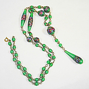 LONG Czech Foiled Art Glass Sautoir Necklace GORGEOUS!