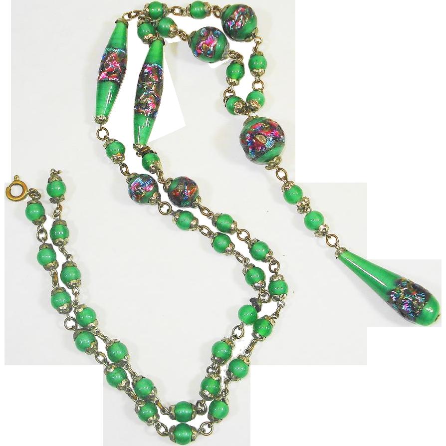 LONG Czech Foiled Art Glass Sautoir Necklace GORGEOUS!