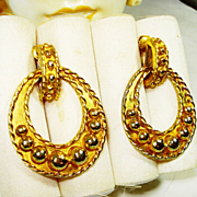 HUGE KJL Vintage Runway Hoop Earrings  NICE!