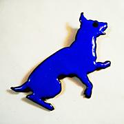LG Vintage Copper Enamel Begging Blue Dog Pin