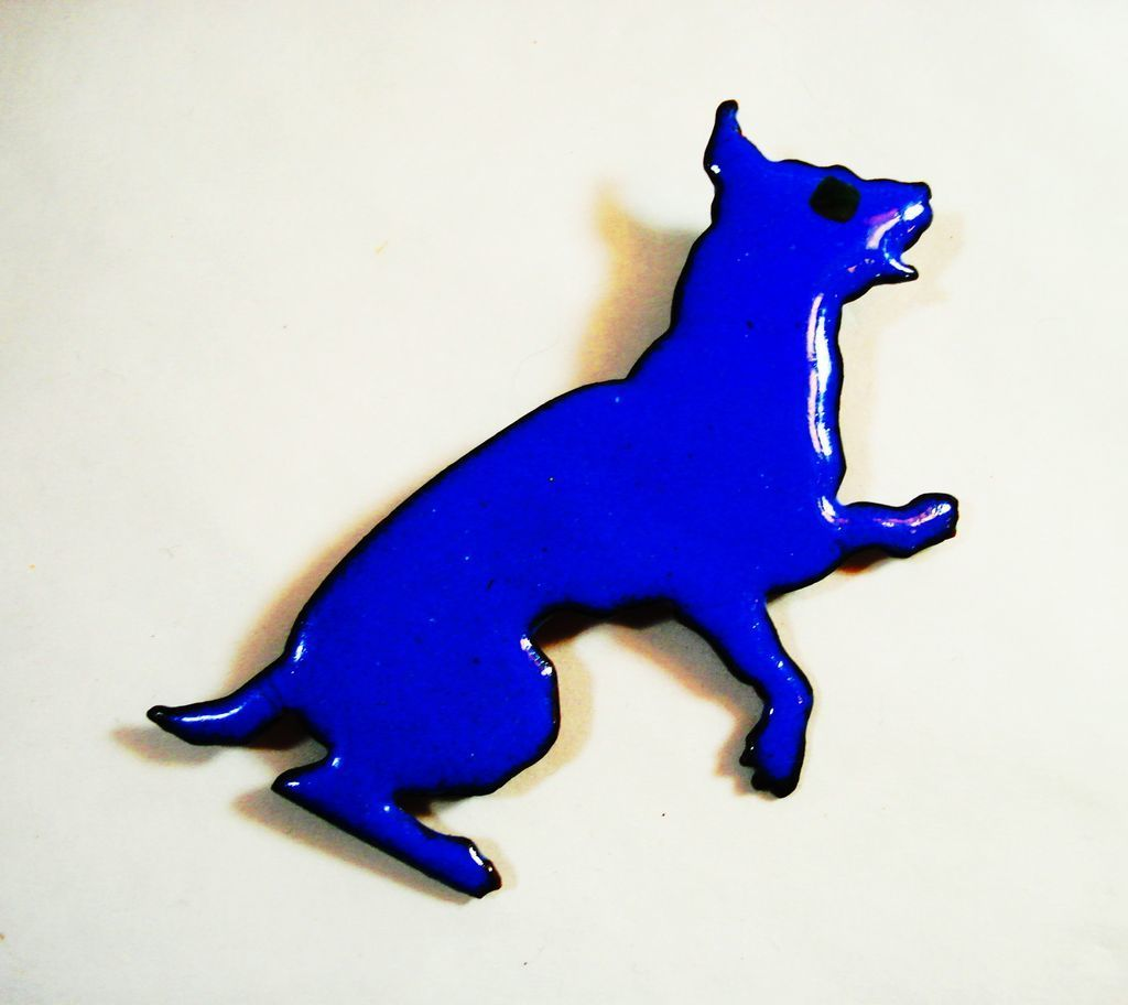 LG Vintage Copper Enamel Begging Blue Dog Pin