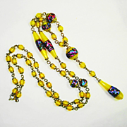 Superb Czech Foiled Art Glass Sautoir Necklace OLD 1920s RARE COLOR