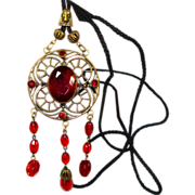 Old Czech Egyptian Revival Deep Red Glass Slide Necklace
