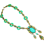 Elegant Old Czech Peking Glass Enamel & Jade Glass Rings Necklace