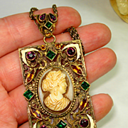 HUGE OLD Czech Enamel Molded Glass Cameo Jeweled Necklace