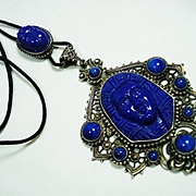 Czech Neiger Egyptian Revival Art Glass Slide Necklace