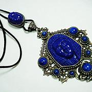 Czech Neiger Egyptian Revival Art Glass Slide Necklace