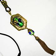 RARE Figural Dragon Foiled Peacock Eye Art Nouveau Slide Necklace