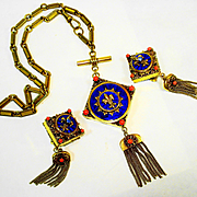 SUPERB German Enamel Faux Coral Necklace and Earring Set  SIGNED