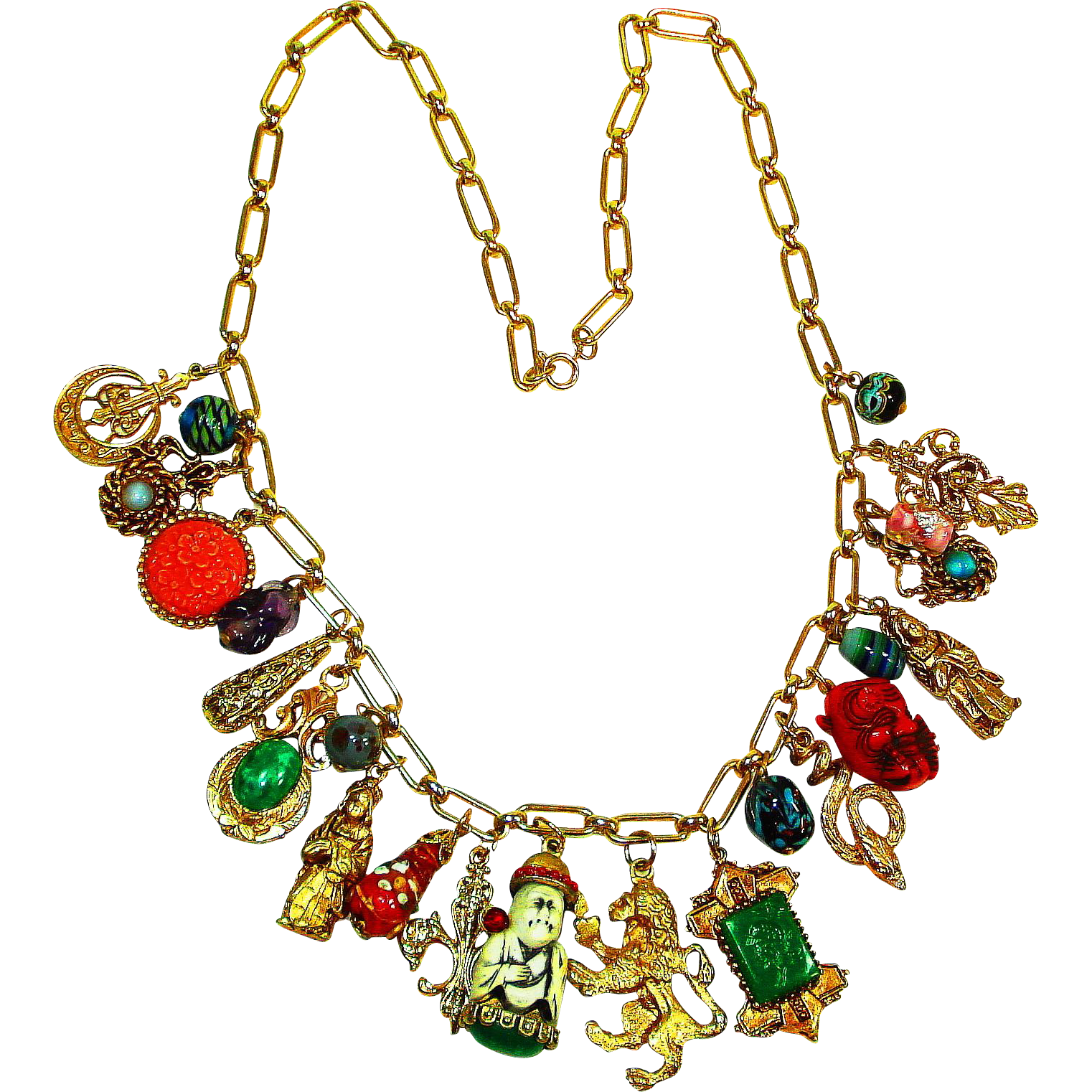 LG Selro Oriental Art Glass Charm Necklace