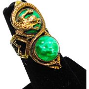 Huge Old Czech Peking Glass Dragon Ring