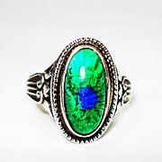 Rare Foiled Peacock Eye Bohemian Art Glass Sterling Ring