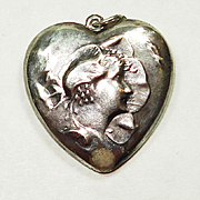 LG Art Nouveau Flower Lady Puffy Heart Charm Necklace