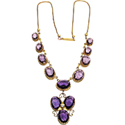Lg Fancy Set Amethyst Glass Victorian Necklace
