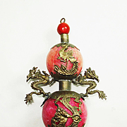 Lg Chinese Export Dragon and Phoenix Pendant